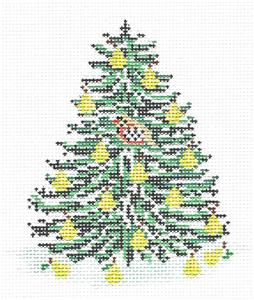 Canvas~Partridge in a Pear Christmas Tree HP Needlepoint Canvas Needle Crossings