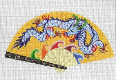 Fan~ LEE Beautiful Oriental DRAGON on Yellow FAN handpainted HP Needlepoint Canvas