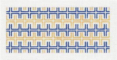 "Canvas Insert~ Blue and Gold Key Design handpainted ""BB"" Needlepoint Canvas by SOS from LEE"