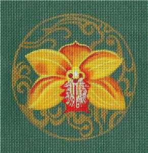Round ~Golden Orchid Coaster or Ornament handpainted Needlepoint Canvas by Leigh Design