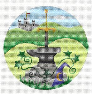 Round ~ The SWORD And The STONE handpainted Needlepoint Canvas by Rebecca Wood~MAY NEED TO BE SPECIAL ORDERED