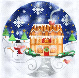 Village Series House with Snowman HP Needlepoint Ornament by CH Designs ~ Danji