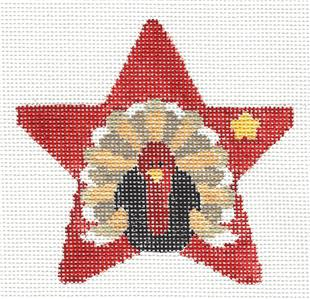 Star~Sm. Turkey Star & STITCH GUIDE handpainted Needlepoint Ornament Kathy Schenkel