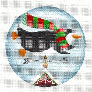 Round ~ Penguin Weather Vane Ornament handpainted Needlepoint Canvas by Rebecca Wood