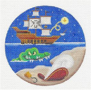 Round ~ Peter Pan & Captian Hook handpainted Needlepoint Canvas by Rebecca Wood *** MAY NEED TO BE SPECIAL ORDERED***