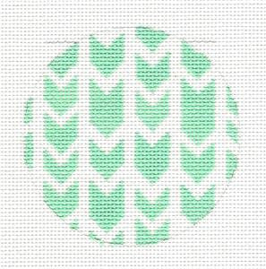 Round~Green Arrows Design Rd. handpainted Needlepoint Canvas by SOS from LEE