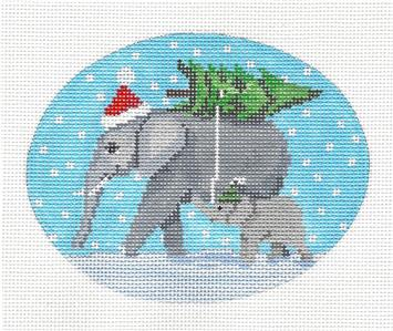 "Oval ~ ""Mom & Baby Elephant"" Handpainted Needlepoint Oval Ornament Scott Church"