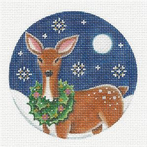 Round ~ Deer Wearing a Wreath Ornament handpainted Needlepoint Canvas by Rebecca Wood