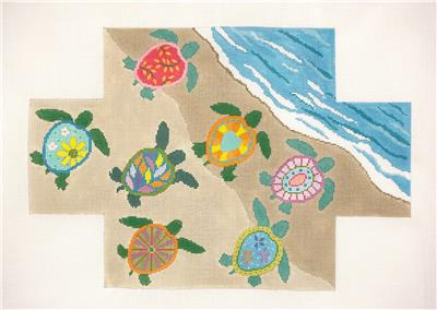 Brick Cover~SEA TURTLES Brick Cover Door Stop handpainted Needlepoint Canvas S. Roberts