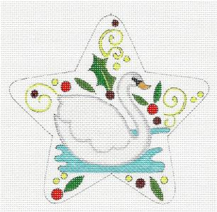 "Star~ 12 Days of Christmas ""7 SWANS SWIMMING"" Star HP Needlepoint Canvas by Raymond Crawford"