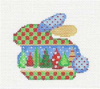 Bunny ~ Multi-Trees Christmas Bunny Rabbit handpainted Needlepoint Canvas by Assoc. Talents