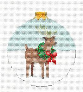 Christmas~ Reindeer Wearing a Wreath handpainted NeedlepointCanvas Ornament ~ Susan Roberts