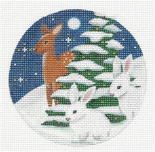 Animal Round ~ Two Rabbits & a Deer in Snow handpainted Needlepoint Canvas by Rebecca Wood