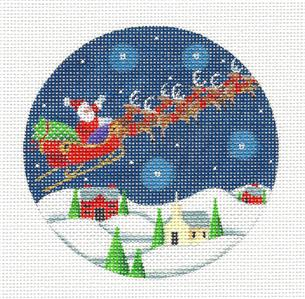 Round ~Dash Away All Snowy Landscape handpainted Needlepoint Canvas Rebecca Wood *** MAY NEED TO BE SPECIAL ORDERED***