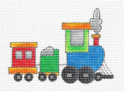 Canvas ~Toy Choo Choo Train handpainted Needlepoint Canvas Ornament Renaissance Design