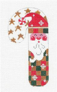 Medium Candy Cane Santa Red & Tan Checks HP Needlepoint Canvas CH Designs- Danji ***SPECIAL ORDER***