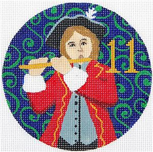 12 Days of Christmas 11 Pipers Piping with STITCH GUIDE & HP Needlepoint canvas Juliemar