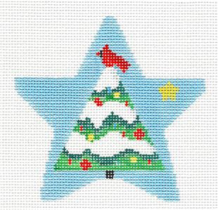 Star~Cardinal Tree Star handpainted Needlepoint Ornament by Kathy Schenkel