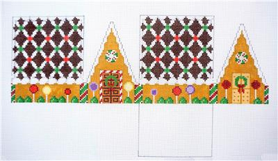 3D CHOCOLATE TRELLIS Gingerbread House Needlepoint Ornament Susan Roberts