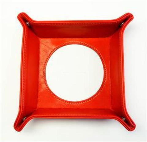 "Accessory~Red Leather Square Snap Tray for a 4"" Rd. Needlepoint Canvas by LEE"