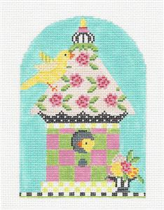 Kelly Clark - Birdhouse Spring Posies handpainted Needlepoint Canvas by Kelly Clark