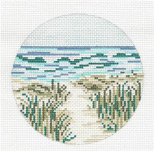 "Round~4"" Summer Path to the Beach handpainted Needlepoint Canvas Needle Crossings"