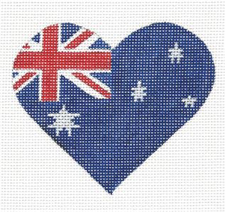 Heart~Australian Flag Heart handpainted Needlepoint Canvas by Pepperberry