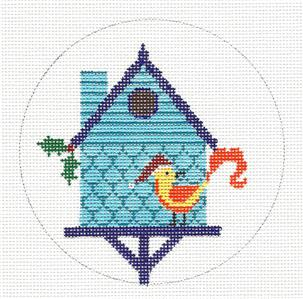Round~ Blue Bird House & Bird handpainted Needlepoint Ornament by JP Needlepoint
