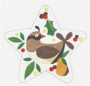 "Star~ 12 Days ""Partridge in Pear Tree"" Star HP Needlepoint Canvas Raymond Crawford"