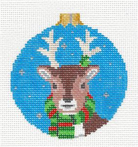 Christmas~ Winter Deer Wearing a Scarf handpainted Needlepoint Ornament~by Susan Roberts