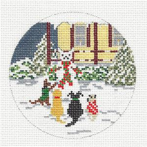 "Round~4"" 4 Snow Dogs & Snowman handpainted Needlepoint Canvas ~by Needle Crossings"