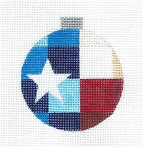 Round~TEXAS Patchwork Quilt Block & Star Needlepoint Ornament Canvas by Ray. Crawford