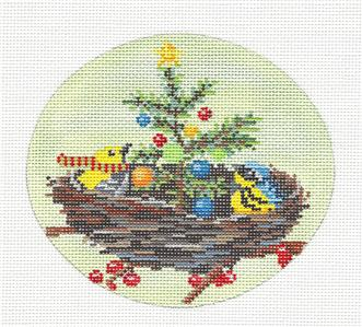 Oval- Christmas in the Nest Handpainted Needlepoint Ornament by Scott Church ***SPECIAL ORDER***