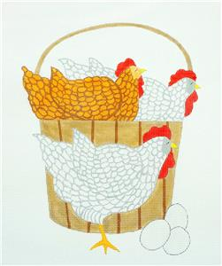 Canvas ~ *FINAL* Bucket of Hens handpainted Needlepoint Canvas by Curtis Boehringer