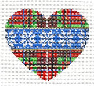 Christmas-Snowflakes On Plaid Heart handpainted Needlepoint Ornament Assoc.Talents