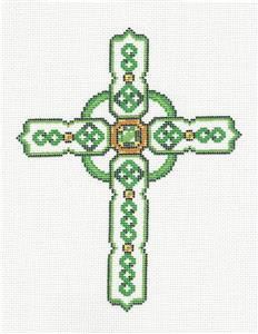"Cross~ Elegant 7"" tall Green Celtic CROSS handpainted Needlepoint Canvas by LEE"
