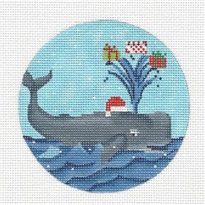 "Round-  ""Whale Bringing Gifts"" Handpainted Needlepoint canvas by Scott Church"