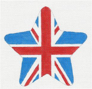 Star~ British Flag ENGLAND STAR Ornament handpainted Needlepoint by Raymond Crawford