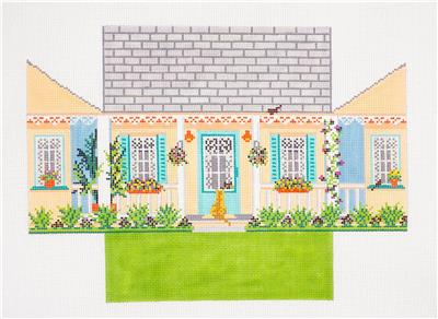 Brick Cover~Summer House Brick Cover handpainted Needlepoint Canvas by Needle Crossings