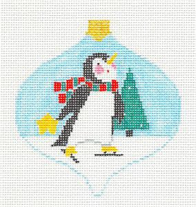 Bauble~ Ice Skating Penguin Bauble Ornament handpaint Needlepoint Canvas Kathy Schenkel