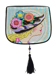 "Bag Flap ~*FLAP ONLY* Flower Hat Evening Bag ""Style B"" handpainted Needlepoint Canvas by Sophia"