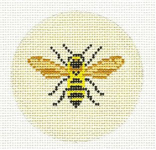 "Round~3"" Bumble Bee Ornament handpainted Needlepoint by Needle Crossings"