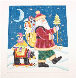 Canvas~ Santa with a Pull Toy HP 18mesh Needlepoint Canvas by Brenda Stofft