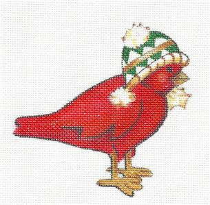 Cardinal in a Ski Cap handpainted Needlepoint Canvas Ornament by Share Ones Ideas