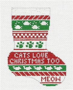 Stocking~Cats Love Christmas Mini Stocking handpaintd Needlepoint Canvas Needle Crossings
