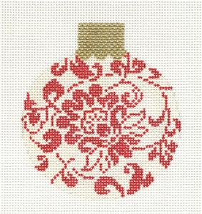 Round~3.25 Red & Cream Floral Damask handpainted Needlepoint Canvas Orna. Whimsy & Grace