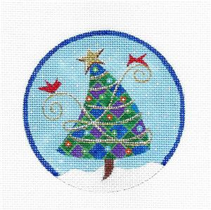 Round~Christmas Tree with Gold Star handpainted Needlepoint Ornament Canvas Juliemar