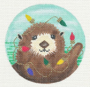 "Round~Christmas Sea Otter with Lights 4"" handpainted Needlepoint Canvas by A. Lawford"