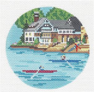 "Round~4"" Philadelphia Boat House Row handpainted Needlepoint Canvas by Needle Crossings"