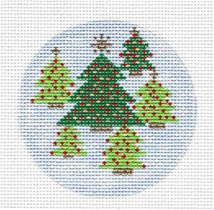 "Round- Christmas Trees 4"" Ornament handpainted 13m Needlepoint Canvas by Karen from CBK"